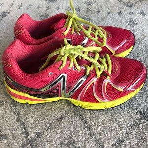 New balance hot pink & neon green/yellow sneaker